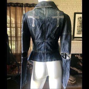 Thomas Wylde denim jacket with crystal crosses